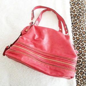 Melie Bianco Red Zipper Shoulder Bag Gold Hardware